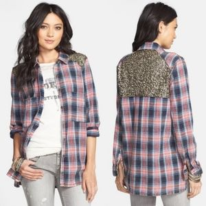 Free People Little Bit of Sugar Sequin Plaid Tunic